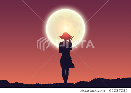 young girl at full moon red sky landscape 62237233