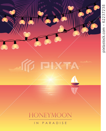 honeymoon in paradise sail boat on the sea at sunset with palm leaves and fairy light 62237238