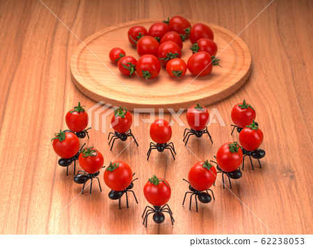 Funny decorative ants carrying tomatoes. Made a heart of cocktail tomatoes 62238053