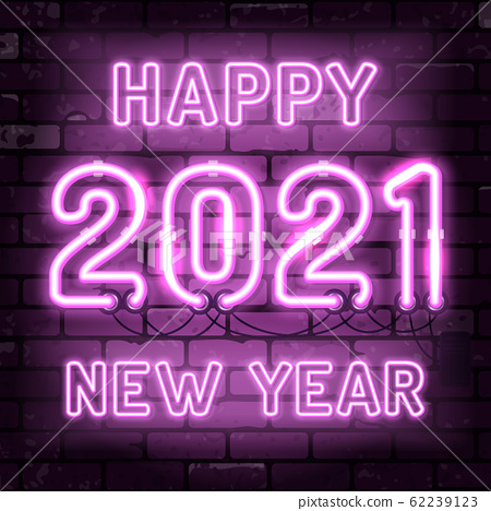 Happy New Year 2021 Neon Signboard 62239123