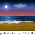 Realistic paradise coast early at morning. Vector sandy beach under the sunrise sky with moon still 62239783