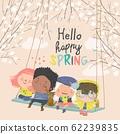 Happy kids flying on a swing in spring garden 62239835