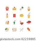 FAST FOOD AND SNACK ICON SET 62239885