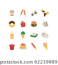 FAST FOOD AND SNACK ICON SET 62239889