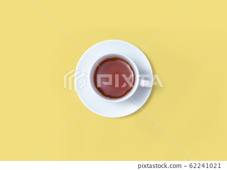 A cup of tea overhead view 62241021