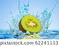 Kiwi cut in half with water splashes, 3D rendering 62241133