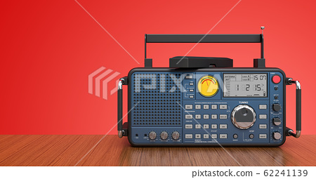 Digital radio on the wood desk, 3D rendering