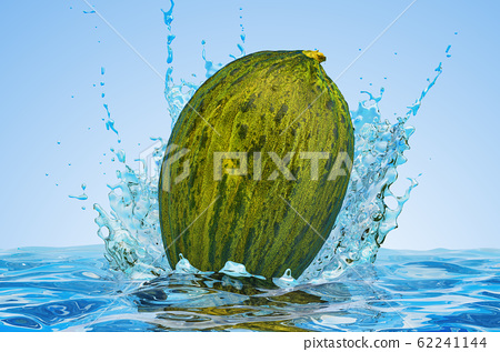 Christmas Melon with water splashes, 3D rendering 62241144