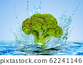 Broccoli cabbage with water splashes, 3D rendering 62241146