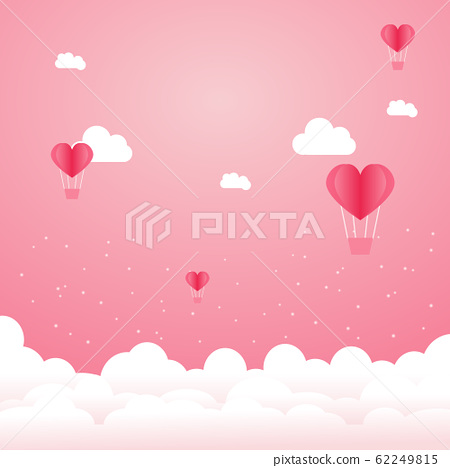 Heart Balloons floating in the pink sky. 62249815