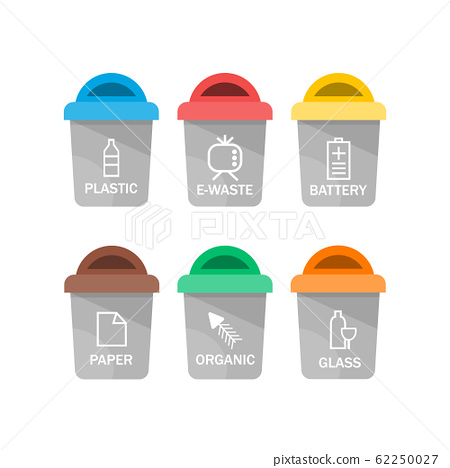 Collection of colorful separation recycle bin icon. Vector illustration 62250027