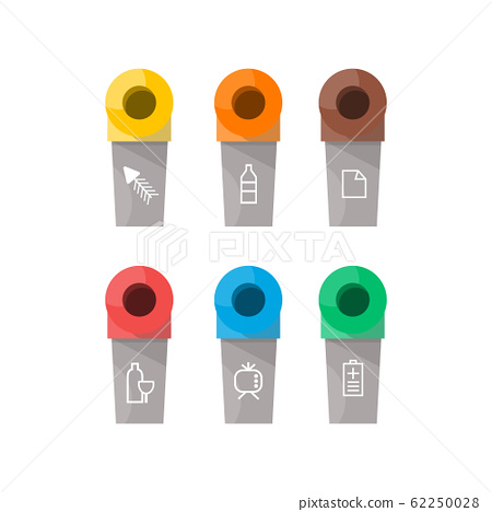 Collection of colorful separation recycle bin icon. Vector illustration 62250028