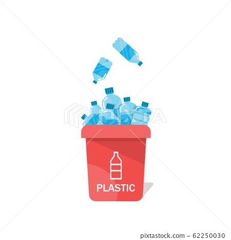 Bottles in a recycling bin,Vector image of water bottles with recycling symbol 62250030