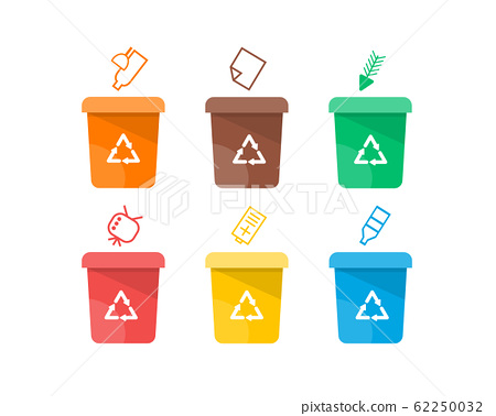 Collection of colorful separation recycle bin icon. Vector illustration 62250032