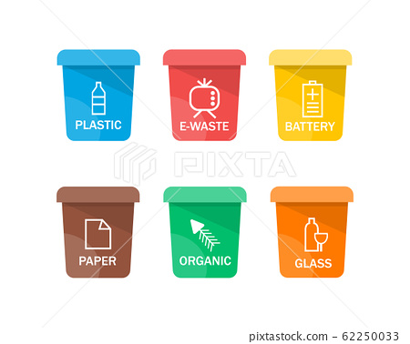 Collection of colorful separation recycle bin icon. Vector illustration 62250033
