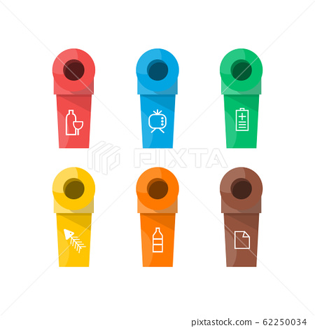 Collection of colorful separation recycle bin icon. Vector illustration 62250034