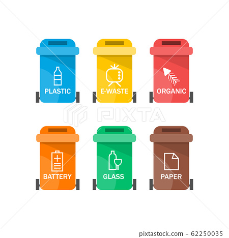 Collection of colorful separation recycle bin icon. Vector illustration 62250035