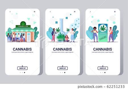 set people using marijuana cannabis drug consumption concept mobile app smartphone screens collection full length horizontal copy space 62251233