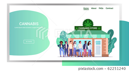 mix race people standing line queue to cannabis store marijuana organic shop cbd products weed purchase drugs consumption concept horizontal full length copy space 62251240