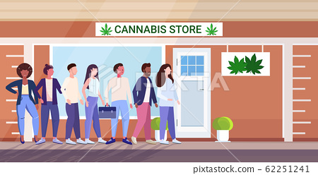 mix race people standing line queue to cannabis store marijuana organic shop cbd products weed purchase drugs consumption concept city street horizontal full length 62251241