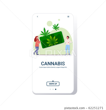 man woman holding smartphone with cannabis leaves people ordering marijuana drug consumption online hemp plant order concept mobile app full length copy space 62251271