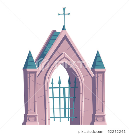 Cemetery gate with metal grid and cross on top 62252241