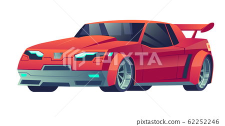 Sports car red color isolated on white background. 62252246