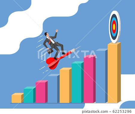 Businessman aim arrow to target. 62253296
