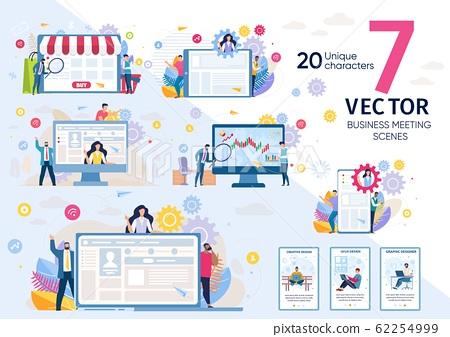 Internet Company Marketing Flat Vector Concept Set 62254999