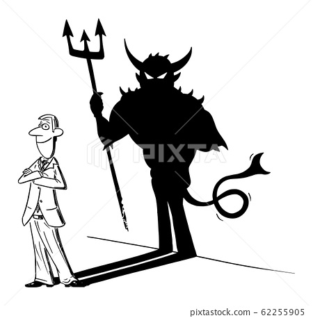 Vector Comic Cartoon of Businessman or Man and His Devil Inside or Monster Shadow on Wall. Business Concept of Inconsiderateness and Success. 62255905