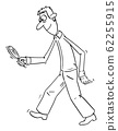 Vector Comic Cartoon of Man or Detective Walking With Magnifying Glass and Searching for Something Hidden 62255915