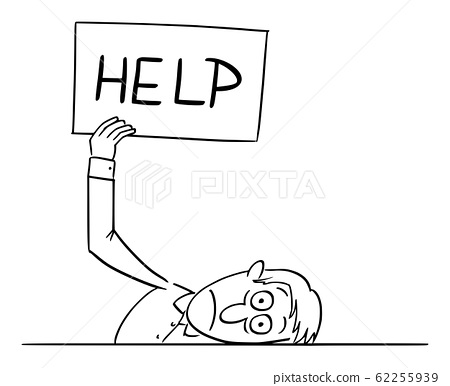 Vector Comic Cartoon of Tired or Frustrated or Sick Man or Businessman Lying on Table and Holding Help Sign, Concept of Stress and Burnout 62255939