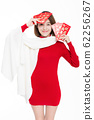 beautiful girl holding red envelope happily 62256267