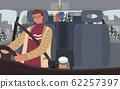 Man Drive Vehicle, Interior of Car, Guy on Trip 62257397