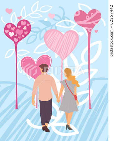 Valentine Card with Couple and Hearts, Love Vector 62257442