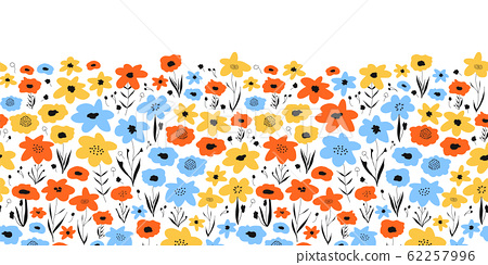 Ditsy flower field seamless vector border. Blue orange yellow black floral background. Repeating 62257996