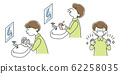 Hand wash, gargle, mask explanation illustration (boy) 62258035