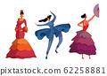 Women Wearing Dresses Performing Different Dances Vector Set 62258881