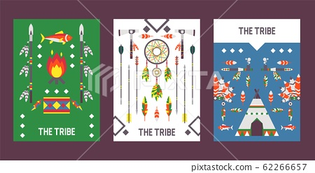Native American indian culture banner with icons, vector illustration 62266657