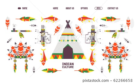 Native American indian culture icons for website vector illustration 62266658