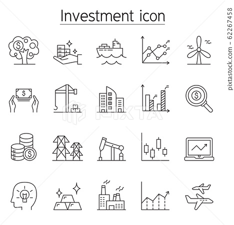 Investment icon set in thin line style 62267458