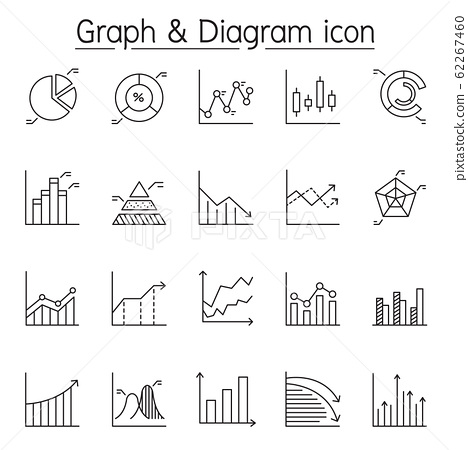 Graph, diagram & chart icon set in thin line style 62267460