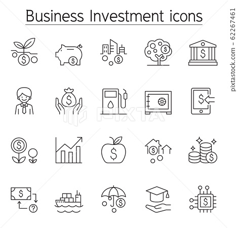 Business investment icon set in thin line style 62267461
