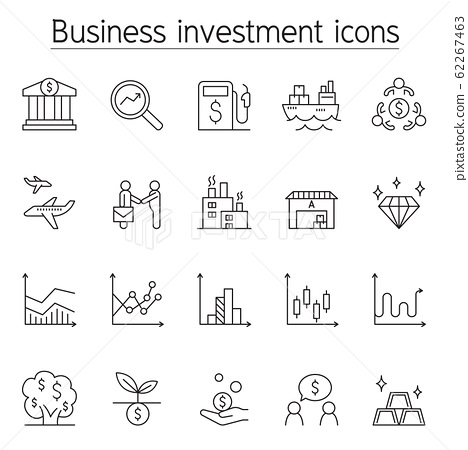 Business investment icon set in thin line style 62267463
