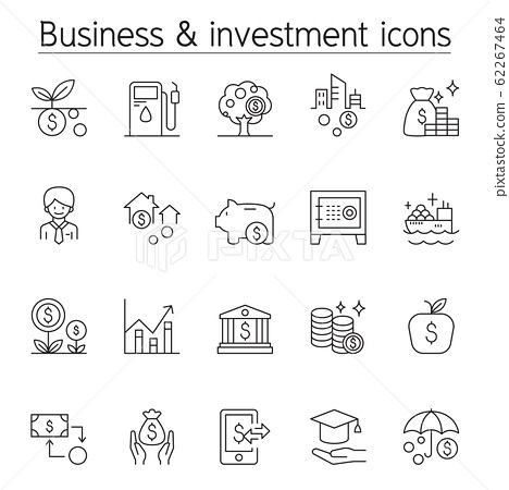 Investment icon set in thin line style 62267464