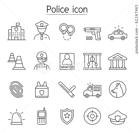 Police icon set in thin line style 62267465