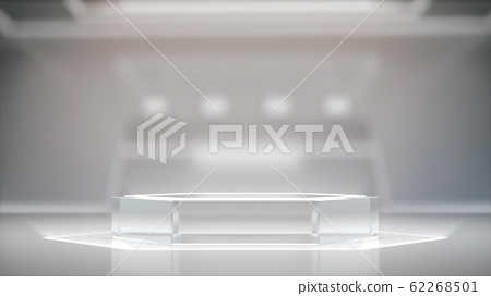 Glass pedestal for display, blank product stand with blurred Interior Of Laboratory ,futuristic background. 62268501