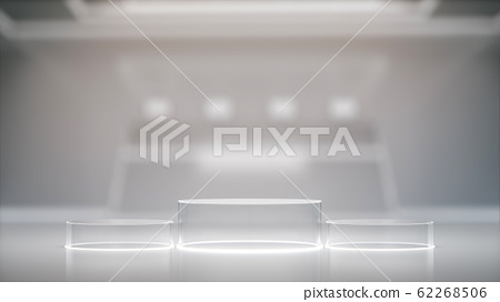 Glass pedestal for display, blank product stand with blurred Interior Of Laboratory ,futuristic background. 62268506