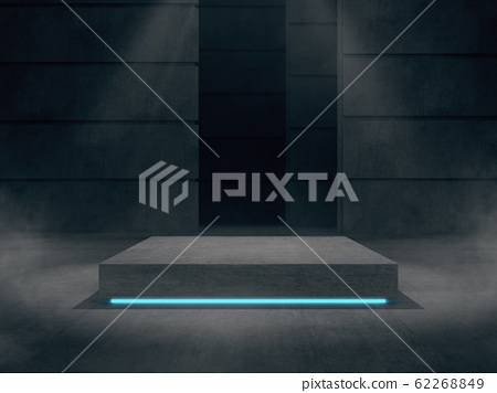 Concrete pedestal for display,Platform for design,Blank product stand with light glow. 62268849