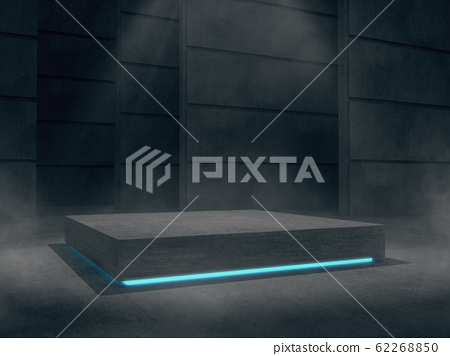 Concrete pedestal for display,Platform for design,Blank product stand with light glow. 62268850